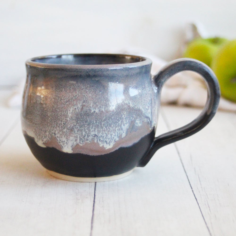 Image of Handmade 12 oz. Pottery Mug in Dripping Gray and Black Glazes, Ceramic Coffee Cup, Made in USA