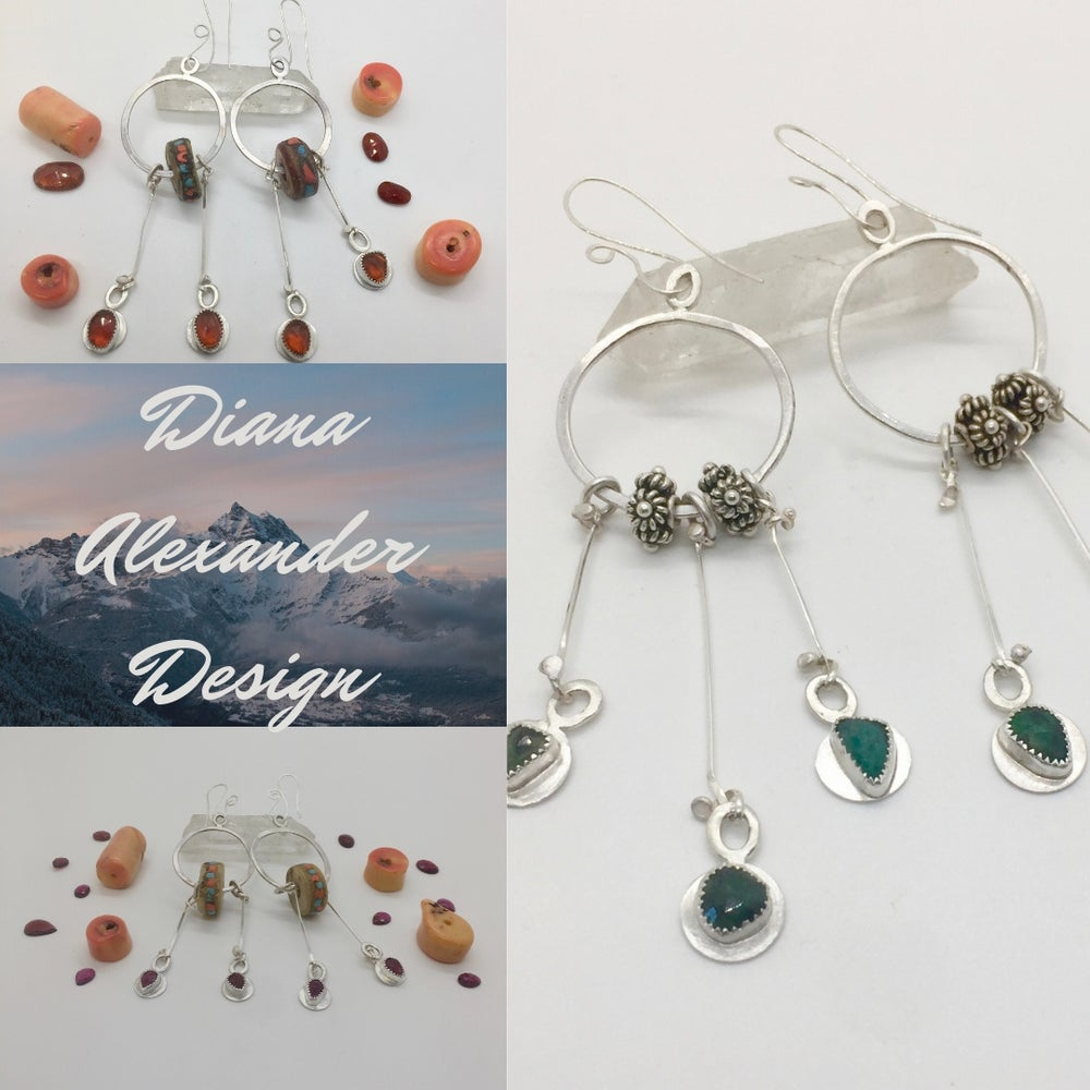 Image of Forged Sterling Hessionite Boho Earrings