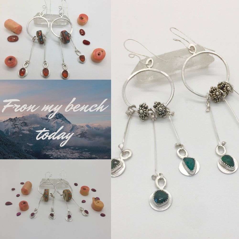 Image of Forged Sterling and Garnet Boho Earrings