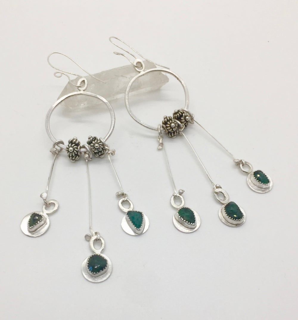 Image of Forged Sterling Boho Emerald Earrings