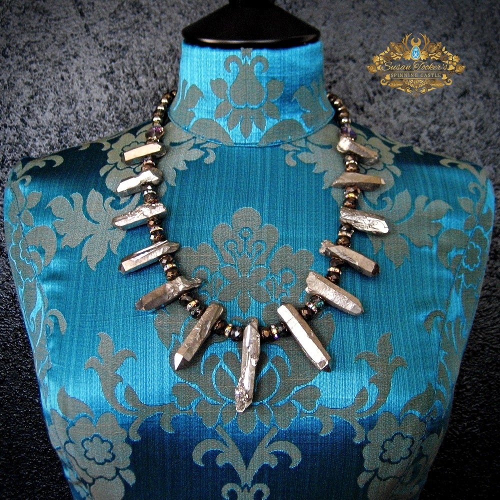 Image of THUNDER GOD - Silver Aura Quartz Crystal Statement Necklace Boho Witch Jewelry