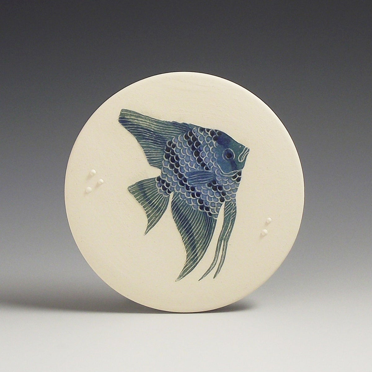 One Angelfish in blues ceramic wall hanging