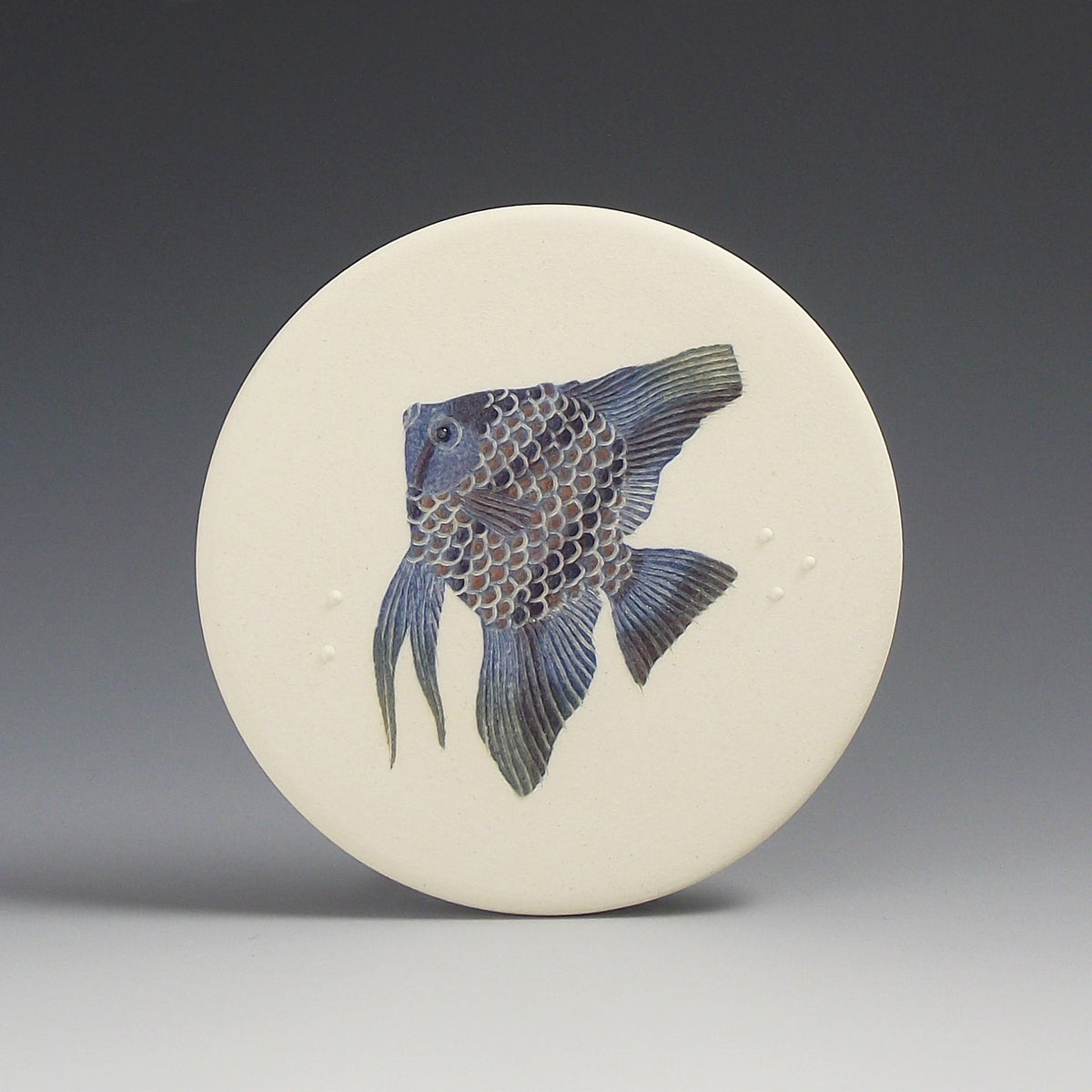 One Angelfish in lilac ceramic wall hanging