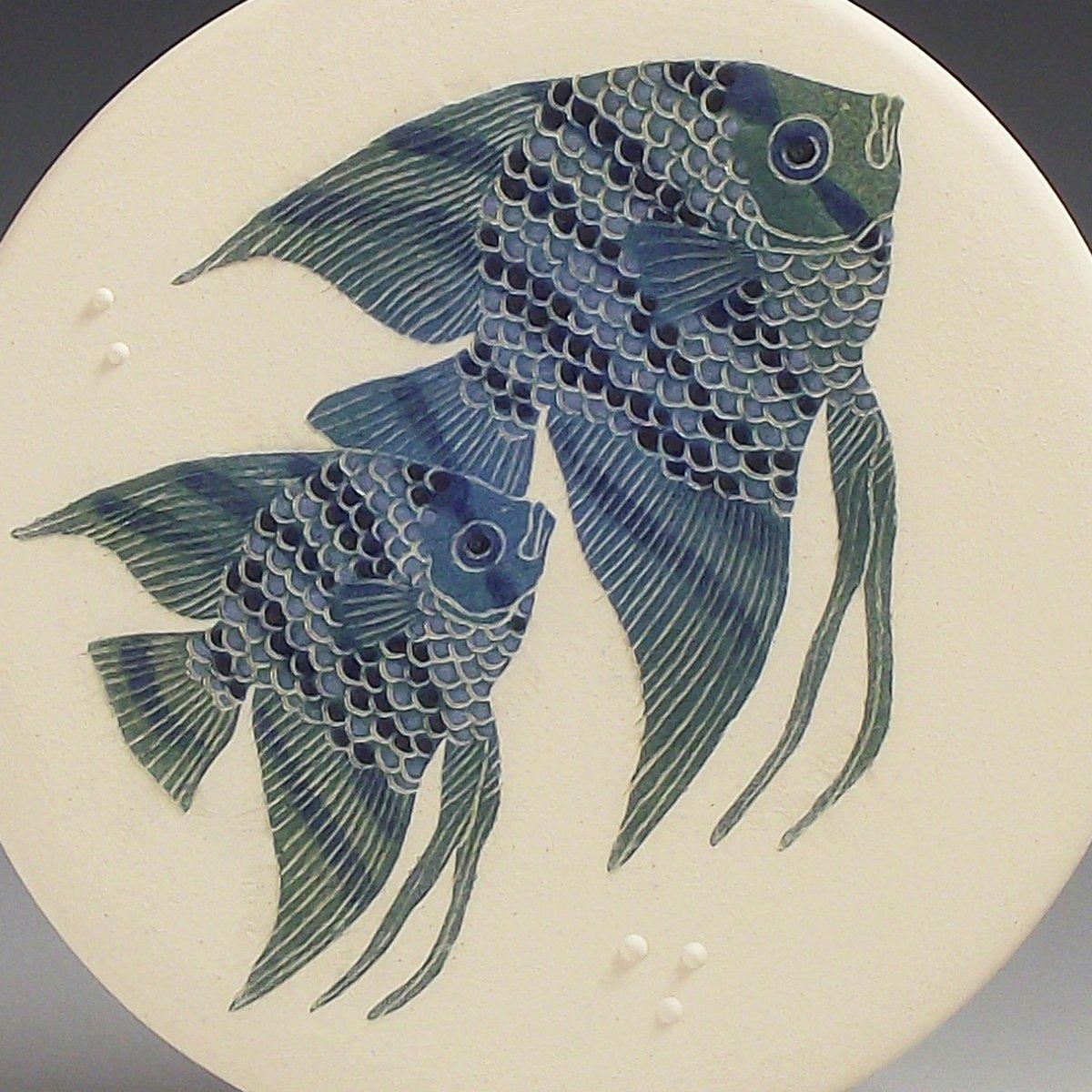 Two angelfish ceramic wall hanging