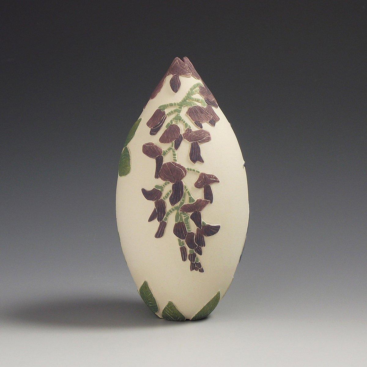 Iswara butterfly & velvet bean plant sgraffito vessel