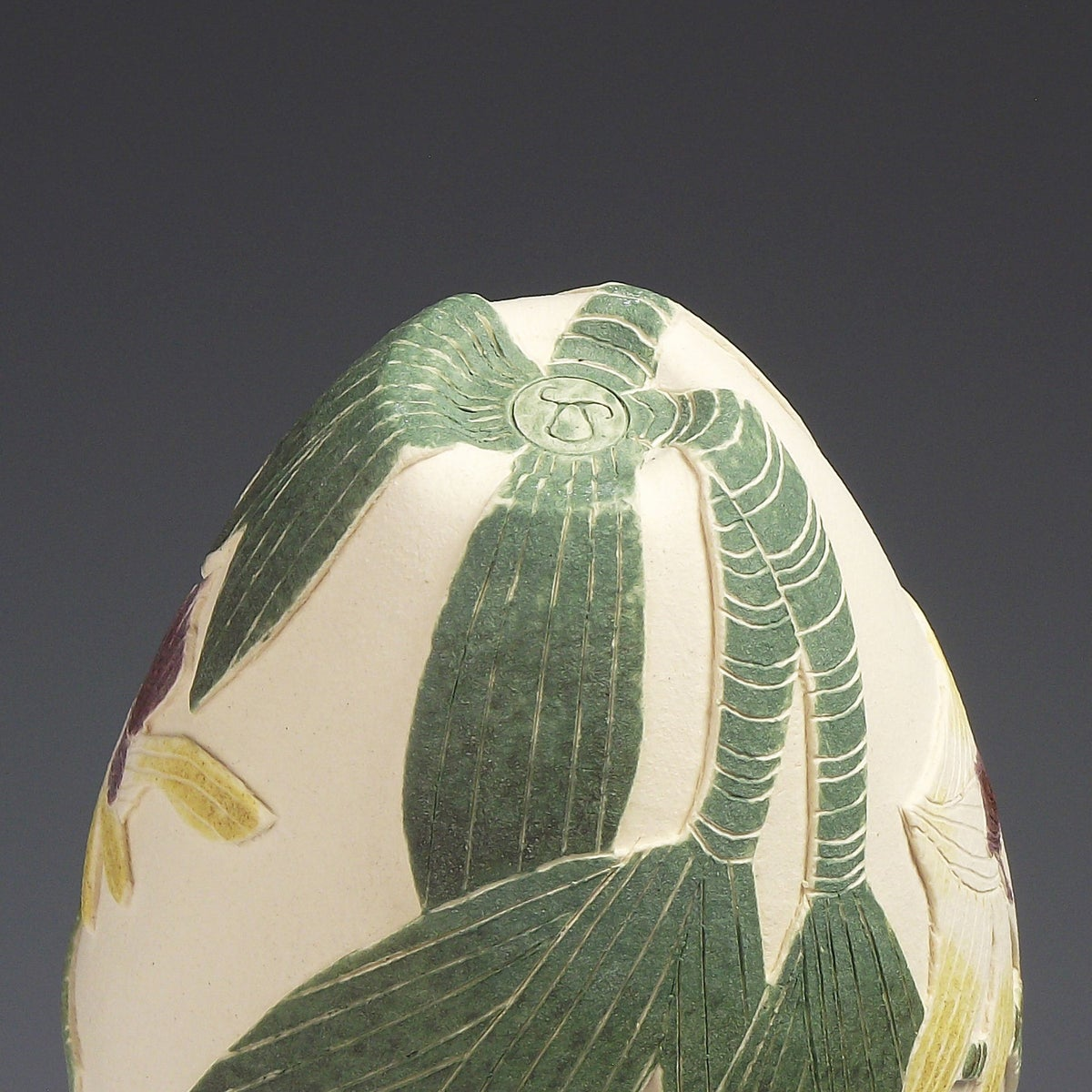 Yellow Antelope orchid sgraffito vessel