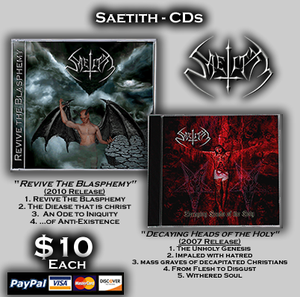 Image of Saetith CDs - Revive the Blasphemy (EP 2010) & Decaying Headws of the Holy (EP 2007)
