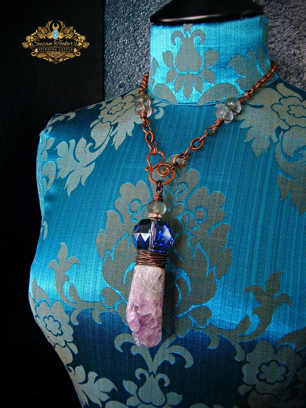 Image of ORACLE - Amethyst Druzy Quartz Crystal Geode Pendant Statement Necklace Witchy Jewelry