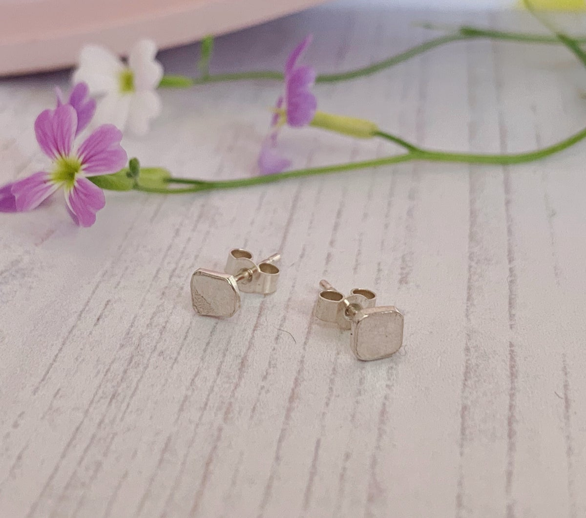 Image of Minimal small square studs, plain or textured