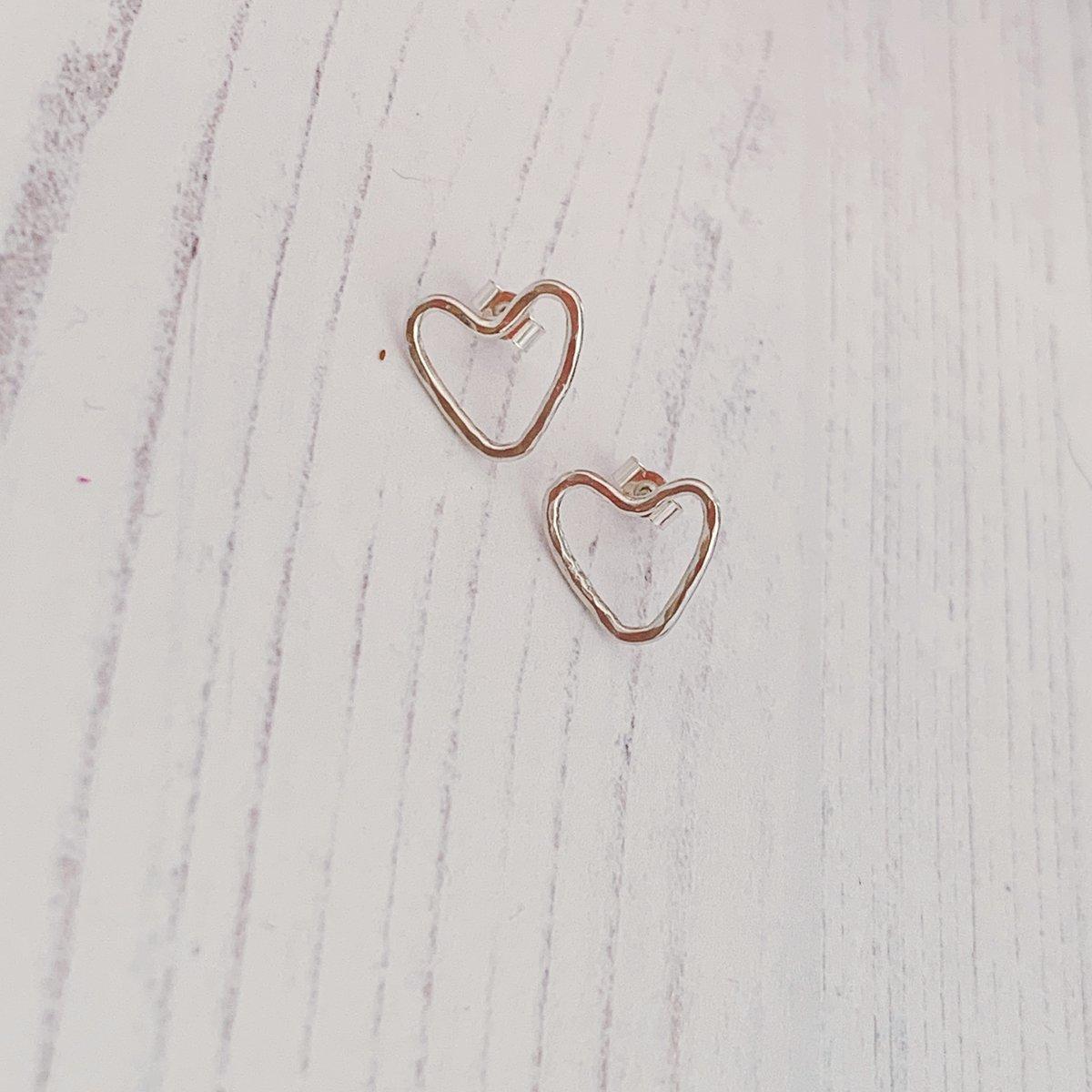 Image of Heart outline stud earrings