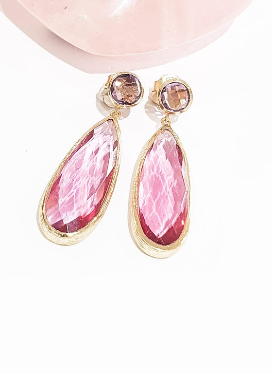 Image of Pink Tourmaline and Amethyst Statement Earrings