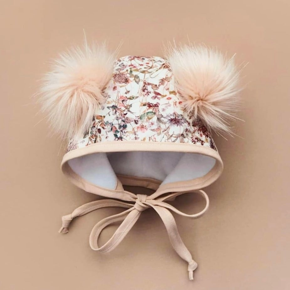 Image of Liberty wildflowers double pom pom bonnet