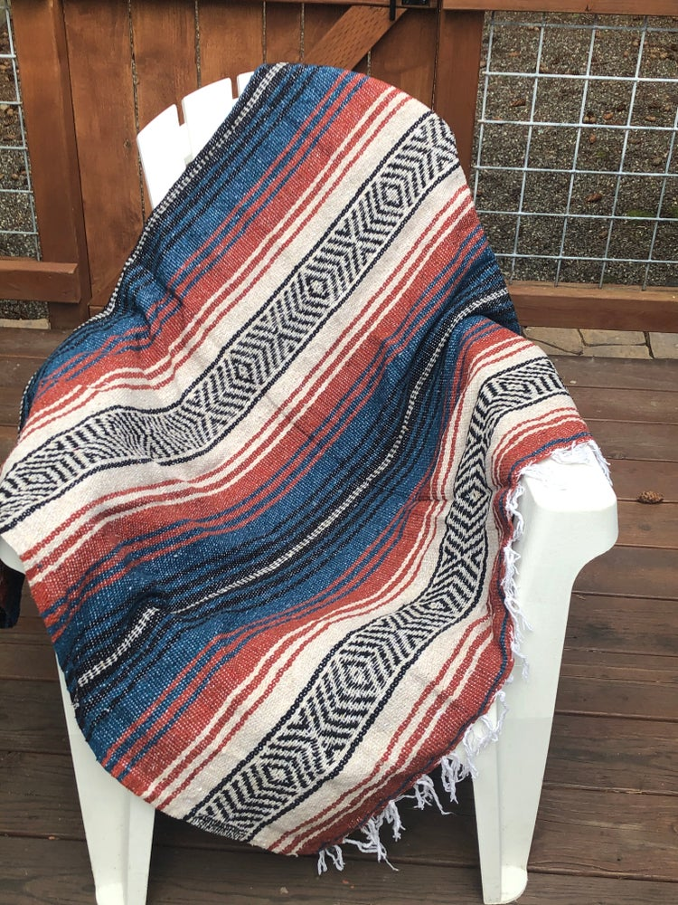 Image of Blue/Rust/Tan Baja Blanket