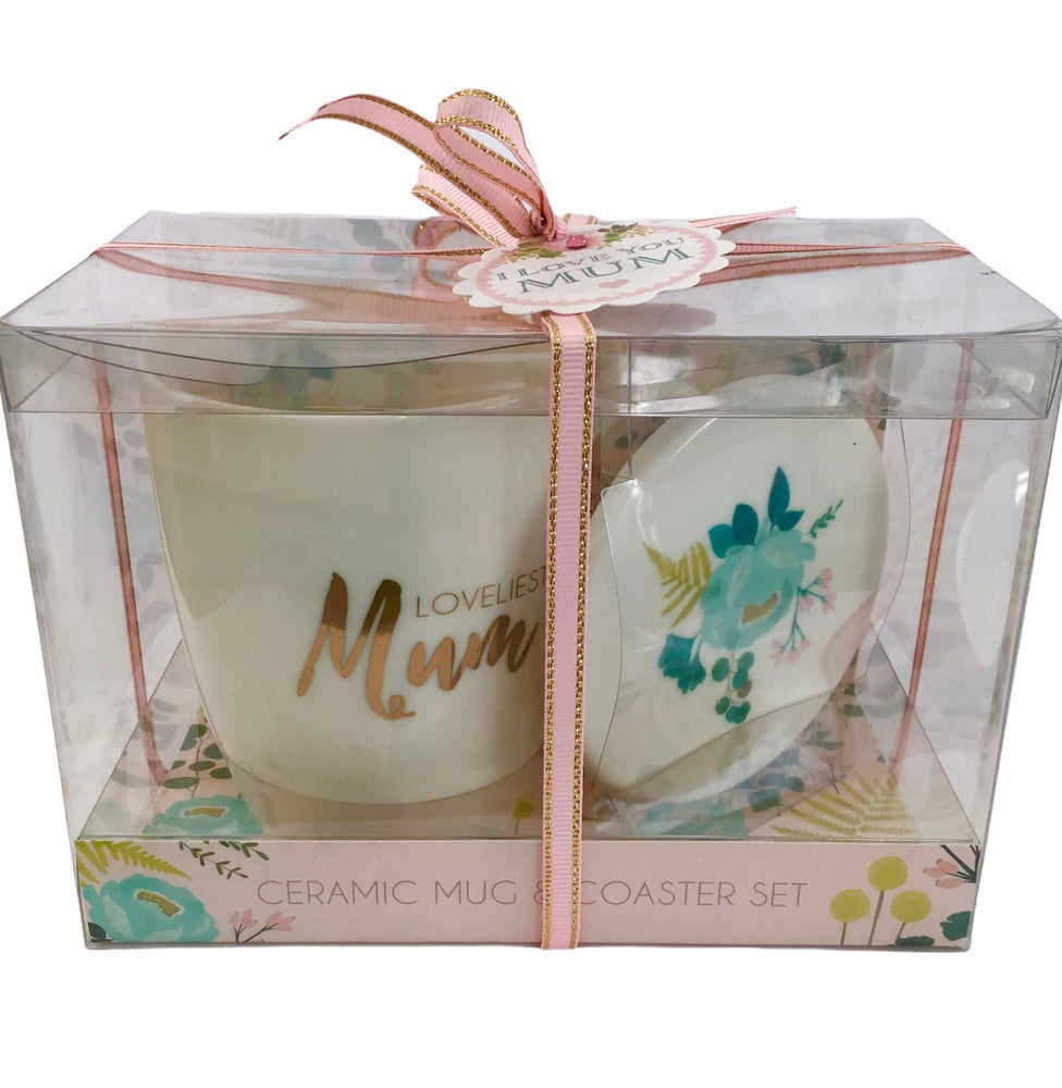 Image of Loveliest Mum Ceramic Mug and Coaster Set