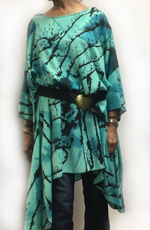 Image of Frida - Aqua Silky Soft Rayon - Tunic-Dress
