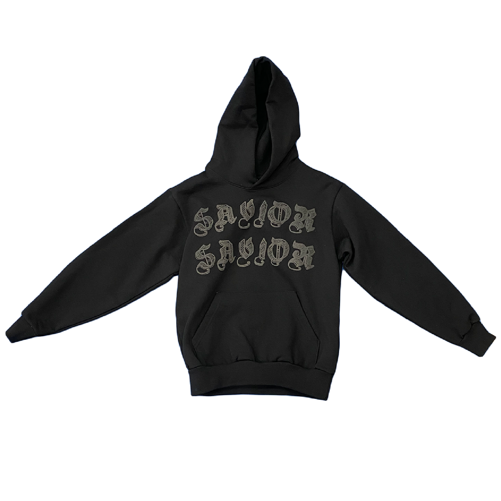 Image of SAVIOR WORLDWIDE HOODIE- ALL BLACK