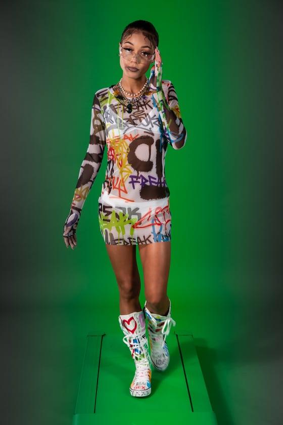 Image of Graffiti Mesh Fingerless Glove Dress