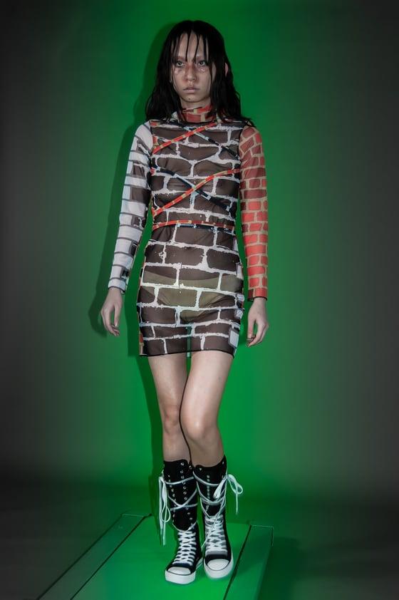 Image of Brick City turtle neck mesh dress