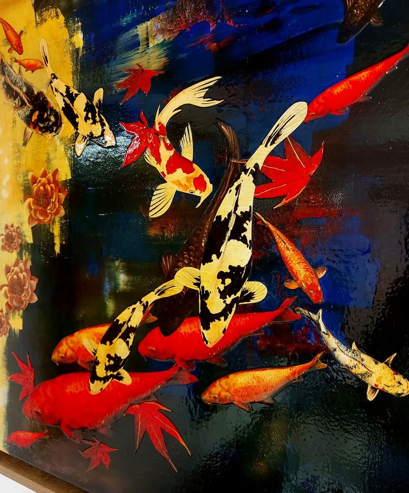 Image of Original Canvas - Koi on Prussian Blue/Cobalt Blue/Sunshine Yellow - 60cm x 60cm