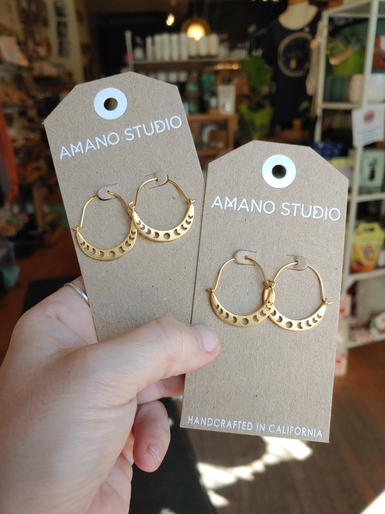 Image of Phases of the Moon Gold Hoop Earrings