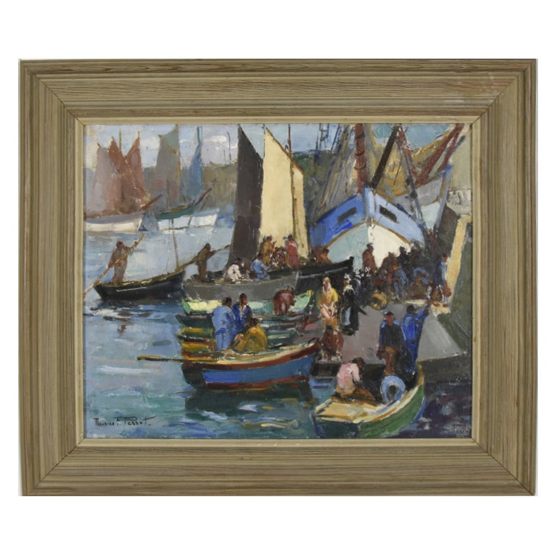Image of Early 20thC 'Breton Quayside' oil painting Maurice F Perrot (1892 -1974)