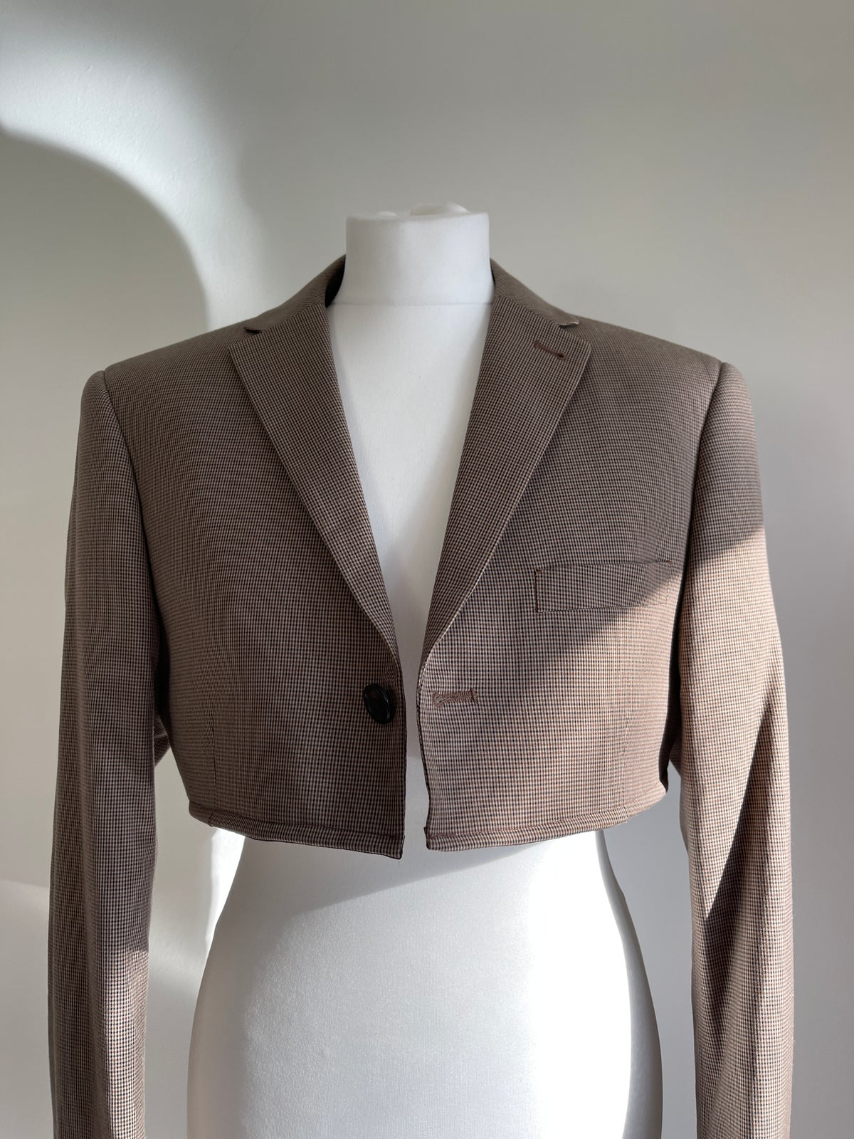 Cropped Brown Check Jacket