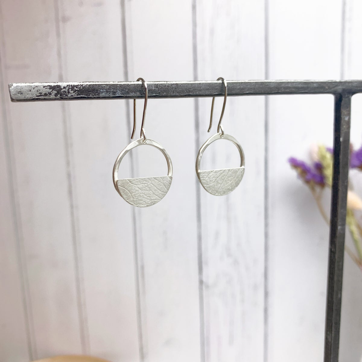 Image of Dangly circle earrings, recycled sterling silver