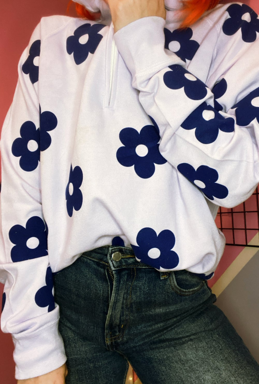 Image of FLOWER POWER lilac zip up