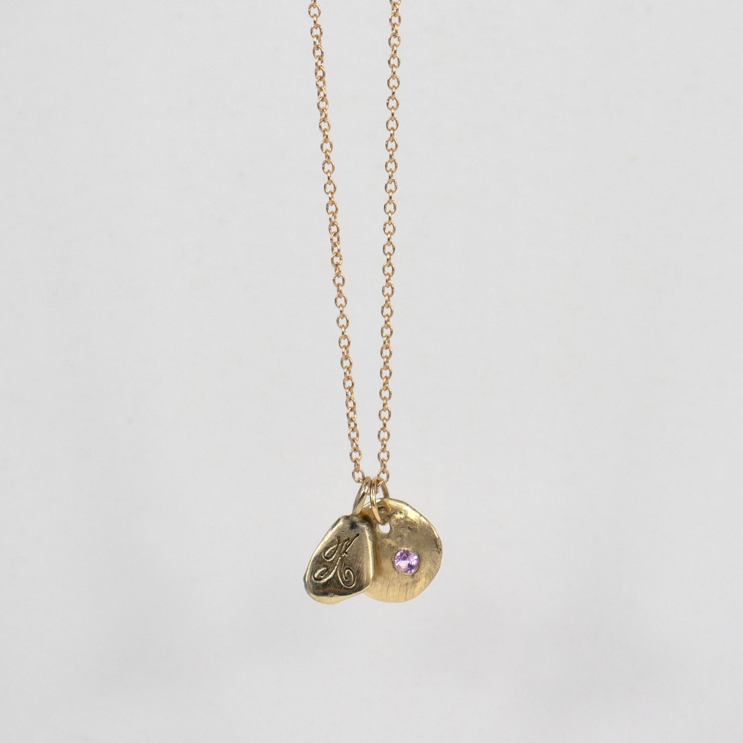 Image of 14k Gold Maine Rock & Kria Tag Necklace w/ Baby Pink Sapphire