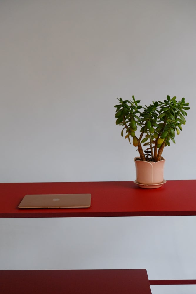 Image of Study Desk with Natural Linoleum Table Top