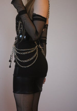 Image of SEQUIN COFFING LEATHER MINI DRESS
