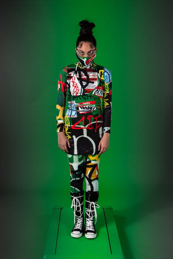 Image of Green street trash layers turtleneck dress - leggings - bikini top - face mask