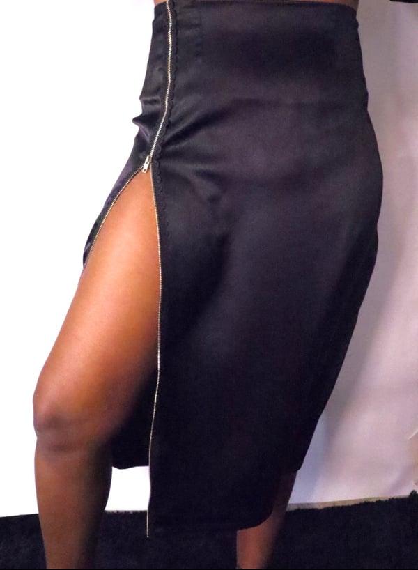 Image of High Waist Lace Zip Skirt