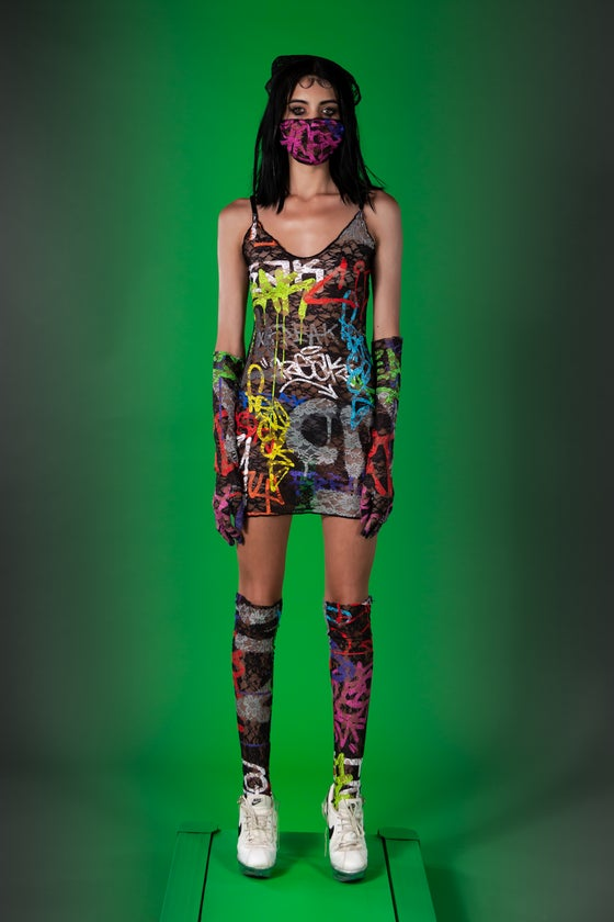 Image of Graffiti lace dress - gloves - socks - mask