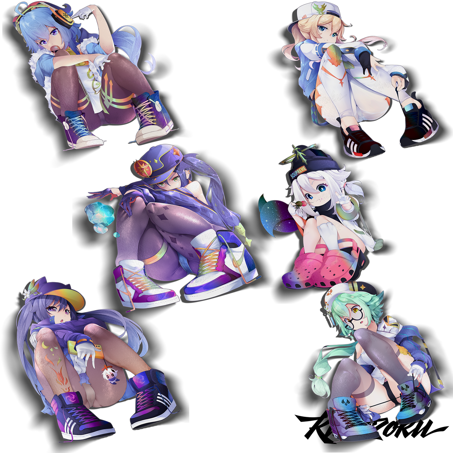 Image of Partial Holo Street Genshin Girls