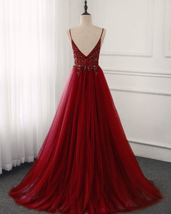 High Quality Burgundy Straps Beaded Long Party Dress, Long Junior Prom Dress