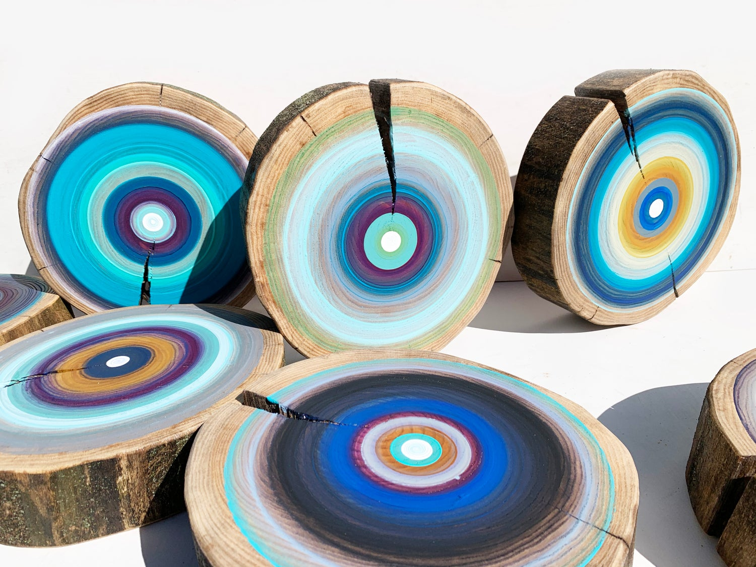 Image of Large Modern Wood Forest Wall Art Original Paintings In Blues on Elm Log Slices