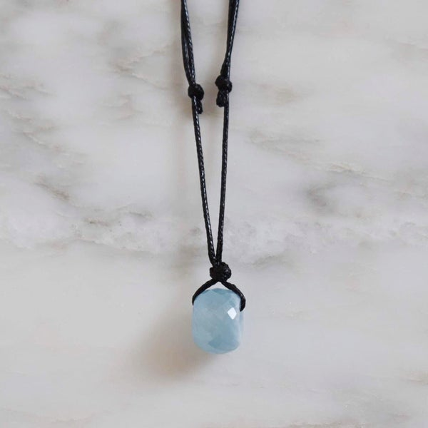 Image of Natural Ice Blue Aquamarine faceted cut cube necklace