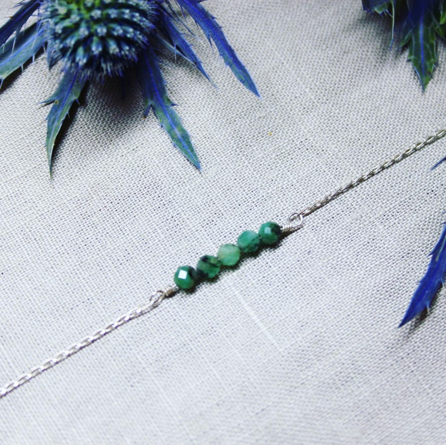 Image of Natural Brazilian Emerald Sterling Silver 925 Choker Necklace