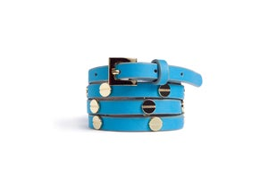 Image of Turquoise Leather Beltlett with Gold Screw Studs