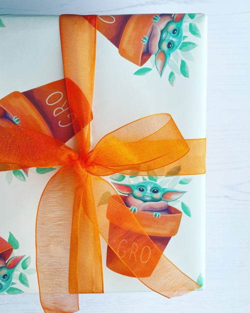 Image of Baby Grogu Plant Pot Gift Wrap by URGHH Card Co.