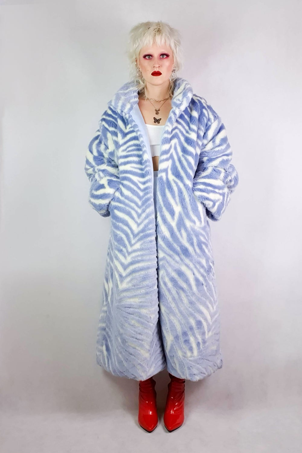 Image of Blue Zebra Faux Fur