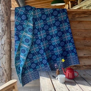Image of fforest Welsh blanket in Twilight blues