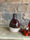 Dimpled Tenmoku and Chestnut Oil Bottle