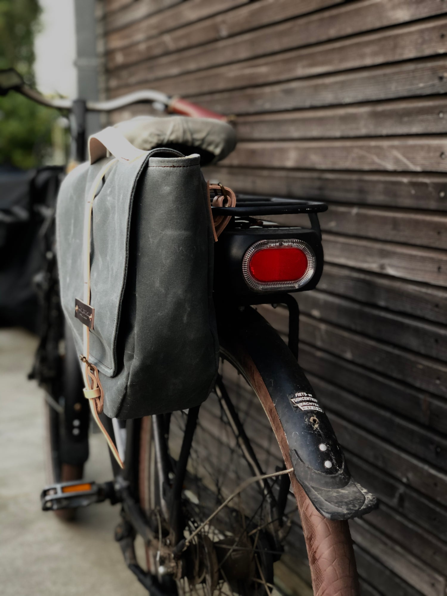 Image of Waxed canvas pannier / bicycle bag with flap, bike accessories