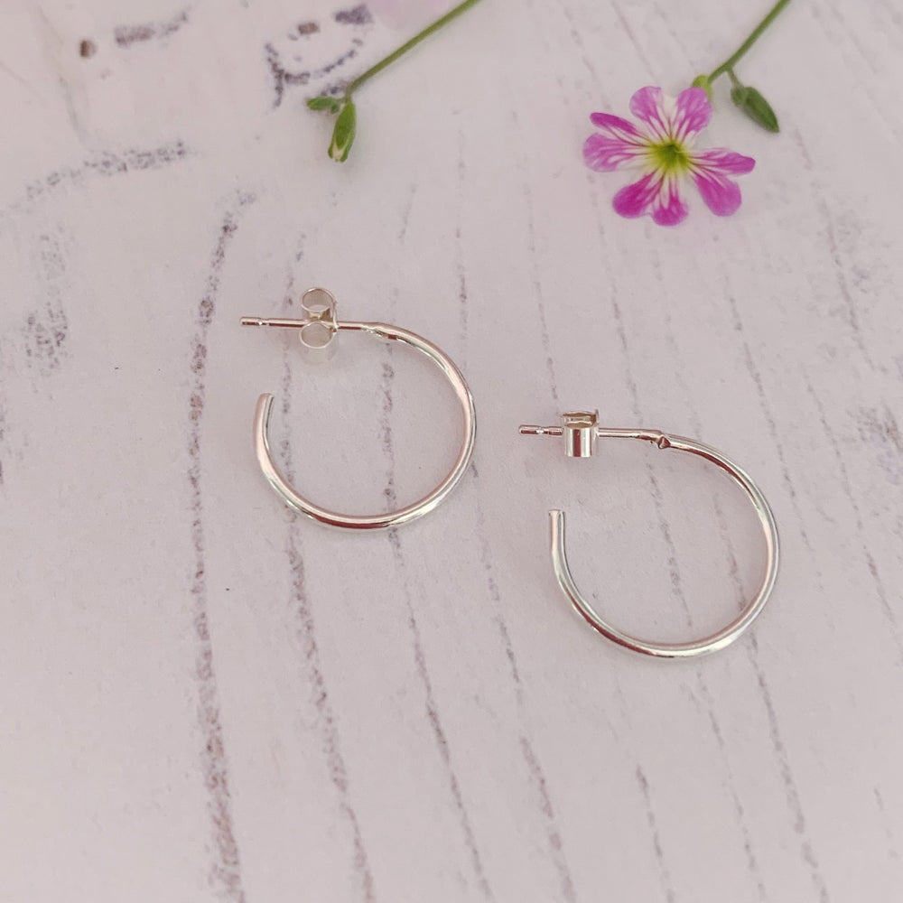 Image of Dainty silver hoop earrings