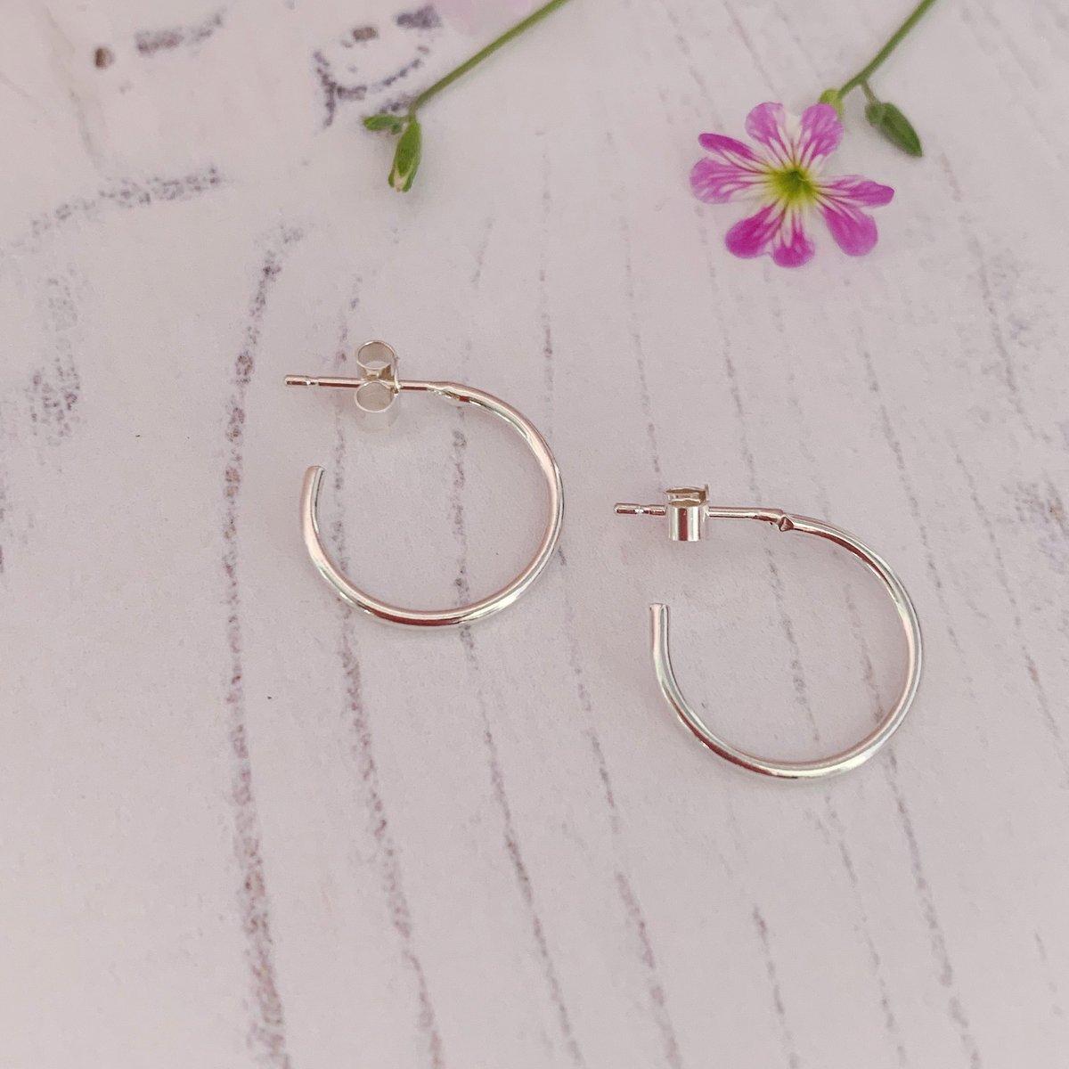 Image of Dainty silver hoop earrings