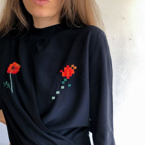 Image of Poppy flower and pixels of poppy flower - upcycled Corvera Vargas viscose shirt, one of a kind