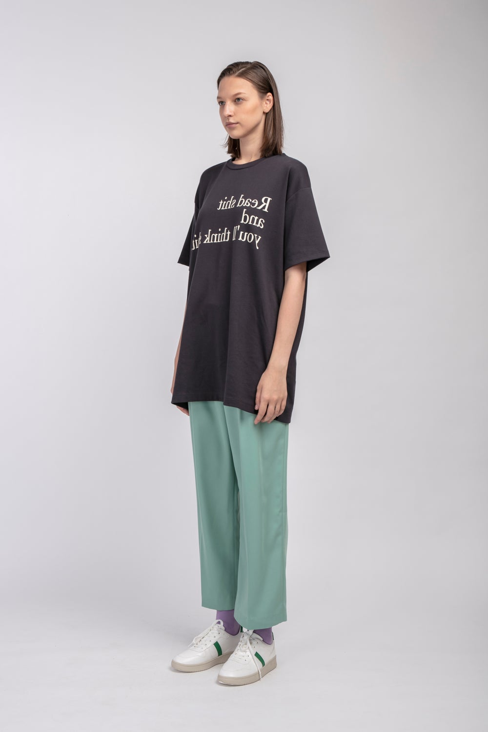 Matter Matters Oversized Long Tee with pockets / Read Shit in Charcoal