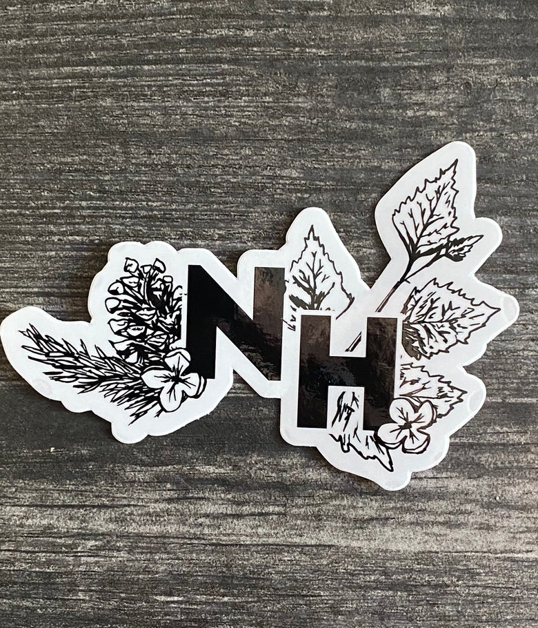 Image of NH botanical clear vinyl sticker 4""